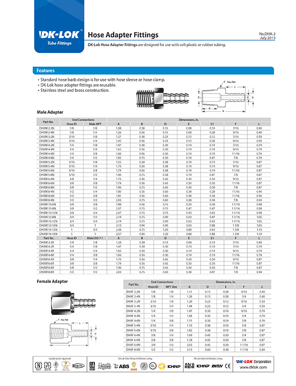 catalog page of hose adapter fittings