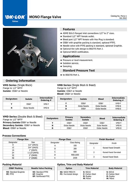 catalog page of mono flange valve