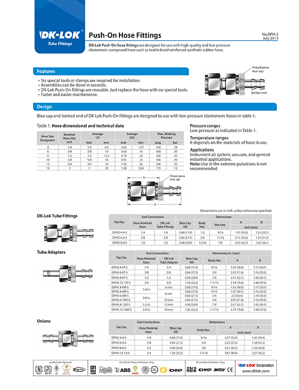 catalog page of push-on hose fittings