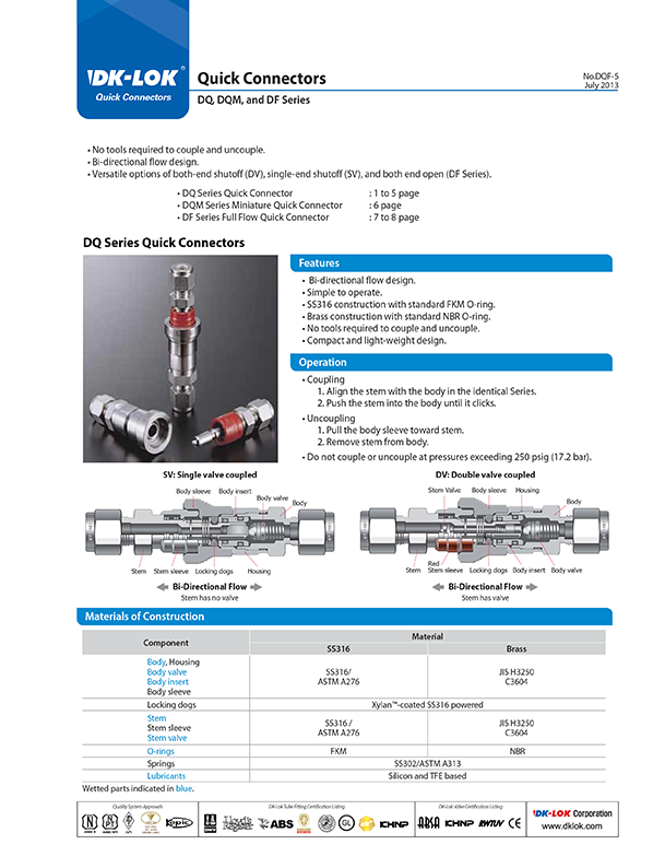 catalog page of quick connectors