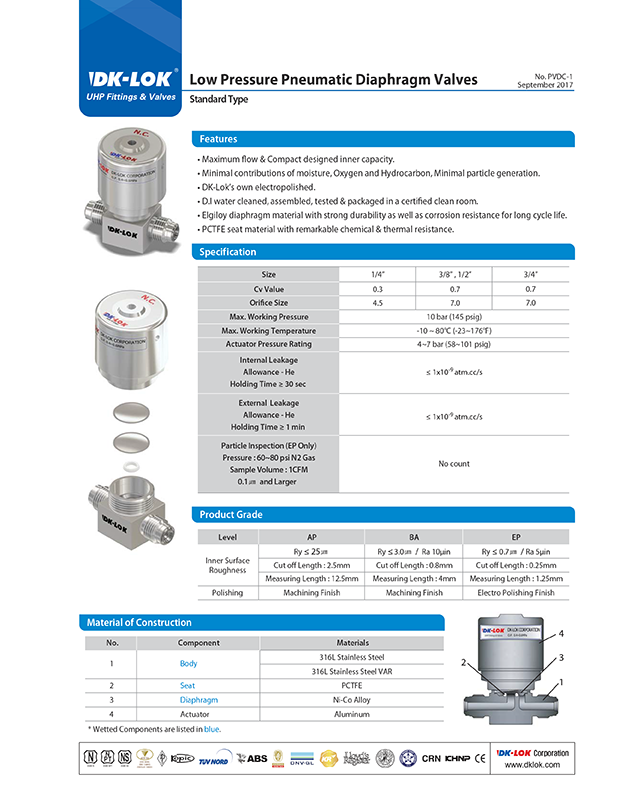 catalog page of low pressure pneumatic diaphragm valves