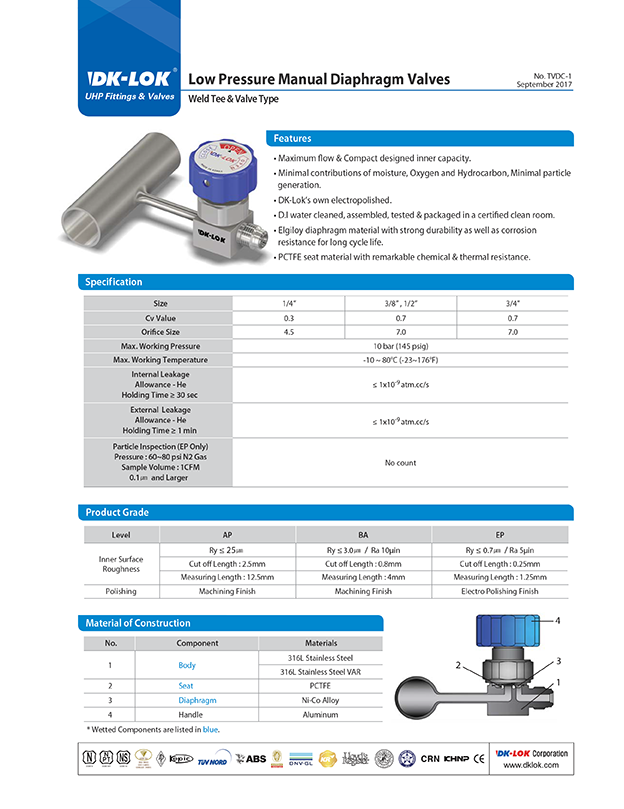 catalog page of low pressure manual diaphragm valves