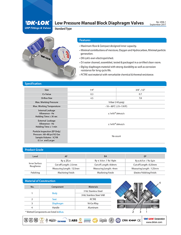 catalog page of uhp and vdb low pressure manual block diaphragm valves