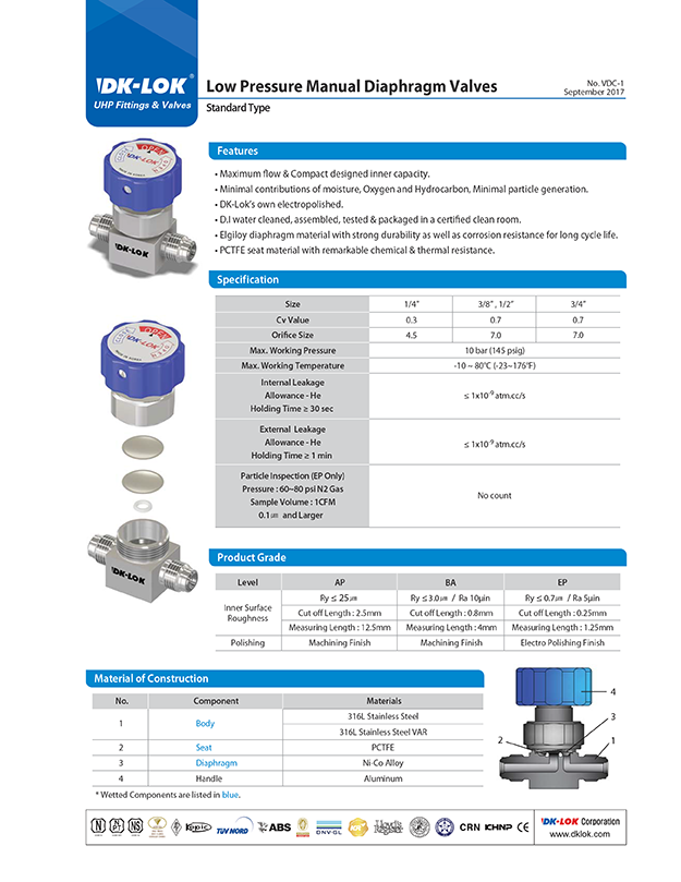 catalog page of uhp and vdc low pressure manual diaphragm valves