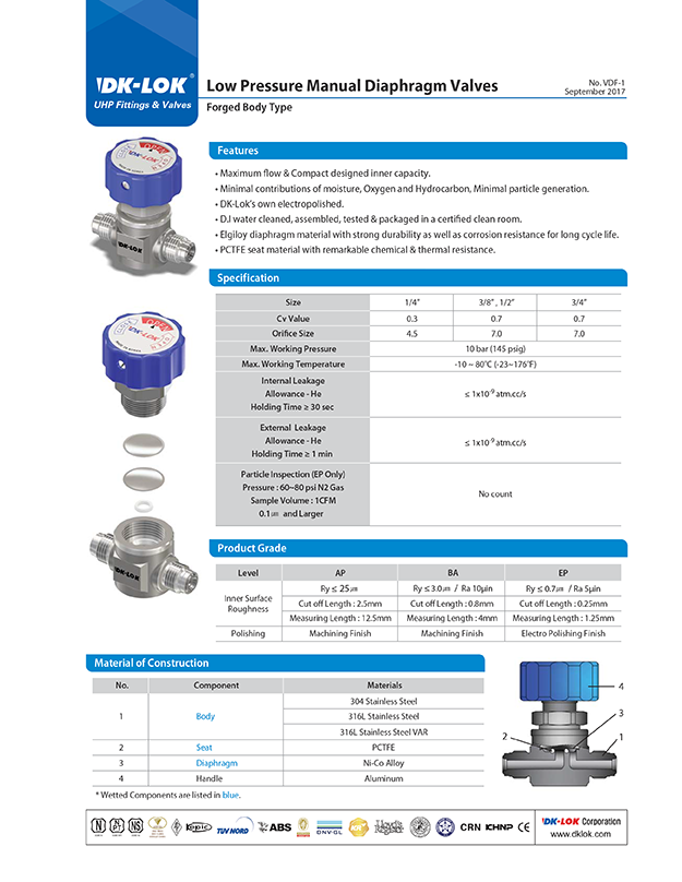 catalog page of uhp and vdp low pressure manual diaphragm valves