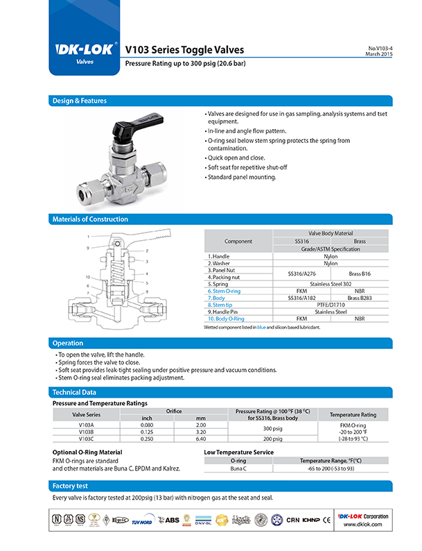 catalog page of v103 series toggle valves