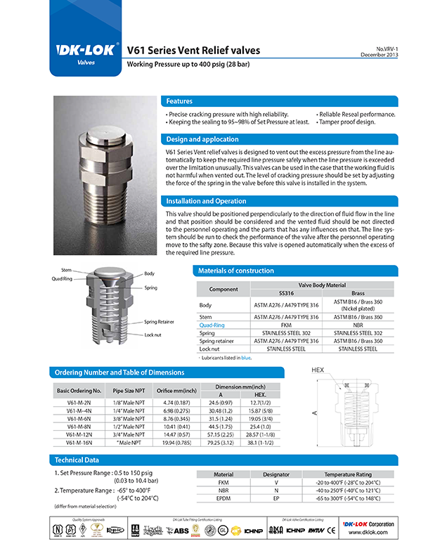 catalog page of v61 series vent relief valves