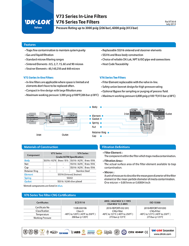 catalog page of v73 series in-line filters and v76 series tee filters