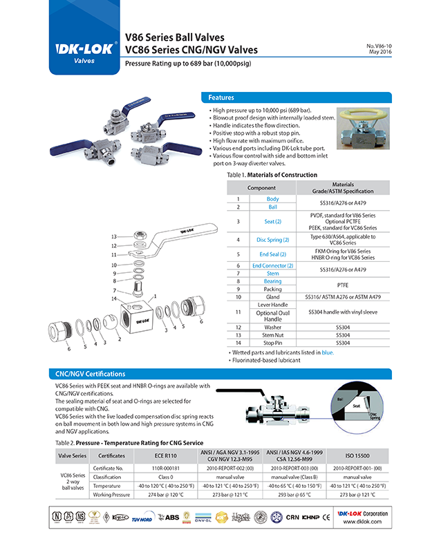 catalog page of v86 series ball valves and vc86 series cng and ngv valves