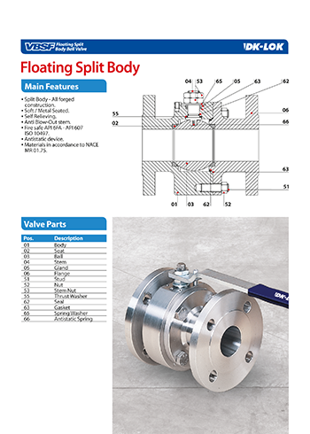 catalog page of floating split body ball valve vbsf