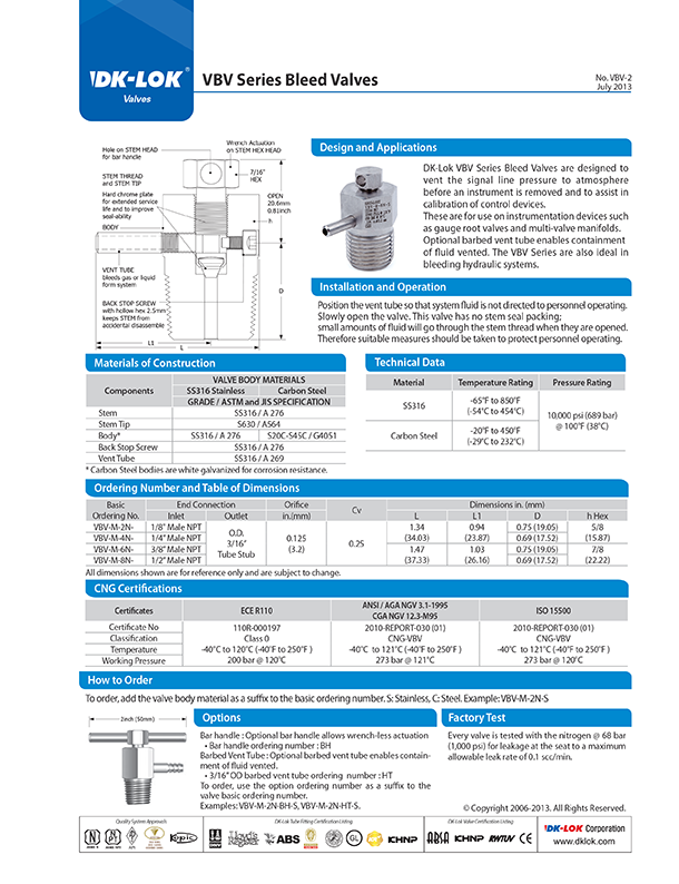 catalog page of vbv series bleed valves