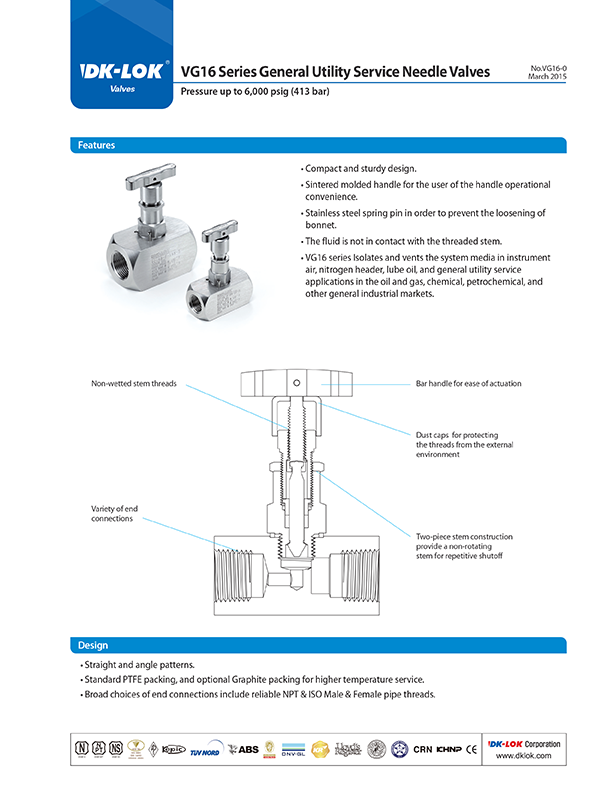 catalog page of vg16 series general utility service needle valves