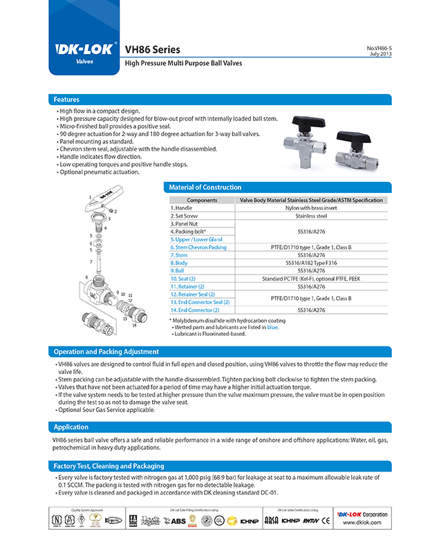 catalog page of vh86 series high pressure multi-purpose ball valves