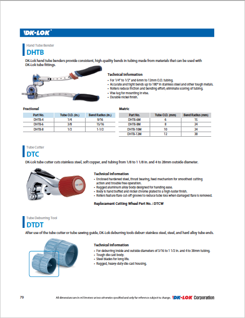 catalog page for tubing installation tools