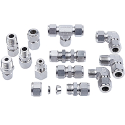 photo of assorted two ferrule tube fittings